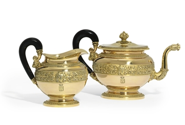A FRENCH SILVER-GILT TEAPOT AN