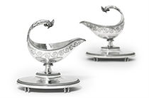 A PAIR OF LOUIS XVI SILVER SAUCEBOATS AND STANDS