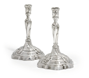 A PAIR OF GERMAN SILVER CANDLE