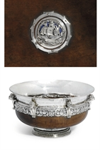 THE RICHARDS BOWL AN IMPORTANT GEORGE V SILVER-MOUNTED AND ENAMEL MAZER-BOWL