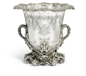 A VICTORIAN SILVER WINE-COOLER