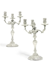 AN IMPORTANT PAIR OF GEORGE III SILVER THREE-LIGHT CANDELABRA