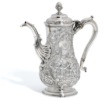 A GEORGE II IRISH SILVER COFFEE-POT