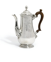 A RARE GEORGE II IRISH PROVINCIAL SILVER COFFEE-POT