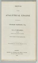[BABBAGE] -- MENABREA, Luigi Federico (1809-1896) Sketch of
