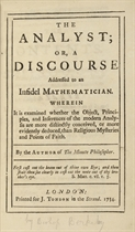 [BERKELEY, George (1685-1753)] The Analyst; or, a Discourse
