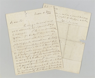 JENNER, Edward. Autograph lett
