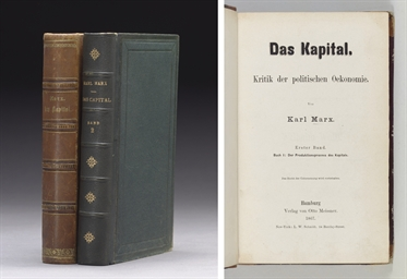 MARX, Karl (1818-1883). Das Kapital. Kritik der politischen Oekonomie... Buch I: Der Produktionsprocess der Kapitals. - [Buch 2: Der Cirkulationsprocess des Kapitals. Edited by Friedrich Engels.] Hamburg: Otto Meissner, 1867 and 1885.