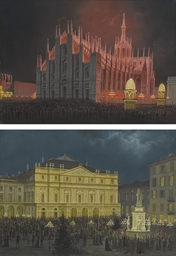 Vedute notturne di Piazza del