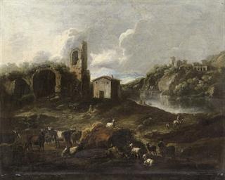 Paesaggio con animali e pastor