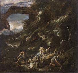 Paesaggio con cascata e pescat