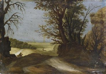 Paesaggio boscoso con cavalier