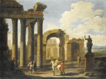 Capriccio con rovine romane e