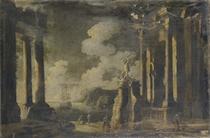 Capriccio architettonico con statua di Ercole e figure