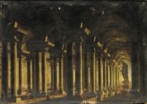 Interno di basilica con statua colossale