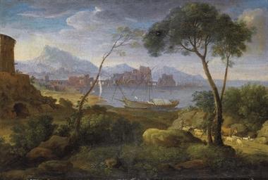 Paesaggio costiero con pastore