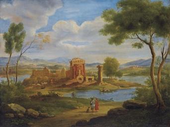 Paesaggio lacustre con borgo e