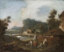 Paesaggio fluviale con ponte e contadini