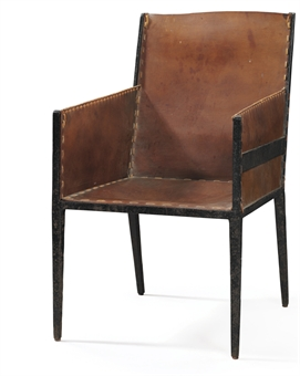 jean michel frank 1895 1941 a leather and wrought iron armchair 1925 design auction. Black Bedroom Furniture Sets. Home Design Ideas