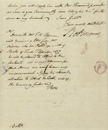 MORRIS, Robert. Autograph lett