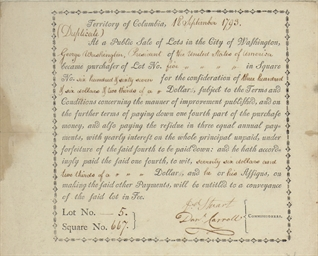 [WASHINGTON. D.C.]. WASHINGTON, George. Partly printed document, SIGNED BY THE COMMISSIONERS OF THE FEDERAL CITY Daniel Carroll (1730-1796), and David Stuart (1750-1814), Territory of Colombia [Washington D.C.]. 18 September 1793. 1 page, 4to, elegantly printed within border of printer's flowers, text in italic type, accomplished in manuscript by a clerk, integral blank, verso docketed. In fine condition.