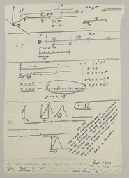 EINSTEIN, Albert. Autograph manuscript, unsigned, comprising diagrams and calculations ILLUSTRATING THE SPECIAL THEORY OF RELATIVITY for Einstein's non-scientific friend, David Rothman, n.d. [September 1939]. 1 page, 4to, in pencil, with two later dockets by Rothman authenticating the document.