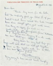 HEMINGWAY, Ernest Autograph letter signed (