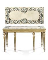 A GEORGE III GILTWOOD AND SCAGLIOLA SIDE TABLE