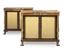 A PAIR OF REGENCY ORMOLU-MOUNTED AND PARCEL-GILT ROSEWOOD SIDE CABINETS