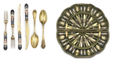 A GERMAN SILVER-GILT AND PORCE