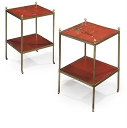 A PAIR OF BRASS-MOUNTED RED AN