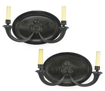 A PAIR OF FRENCH PATINATED BRONZE TWIN-BRANCH WALL LIGHTS