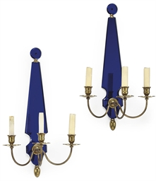 A PAIR OF FRENCH BRASS AND BLU