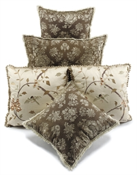 A SET OF FIVE SILK-DAMASK EMBR