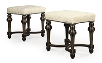 A PAIR OF FRENCH SIMULATED TORTOISESHELL STOOLS