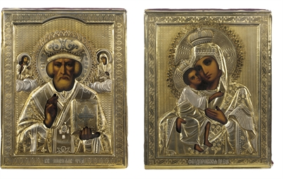 TWO ICONS SHOWING ST. NICHOLAS
