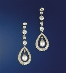 A pair of Edwardian pearl and