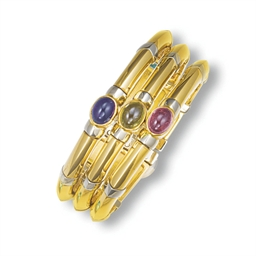 A MULTI-GEM CUFF BANGLE, BY BU