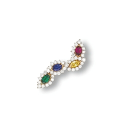 A MULTI-GEM BROOCH