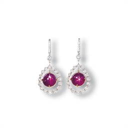 A PAIR OF STAR RUBY AND DIAMON