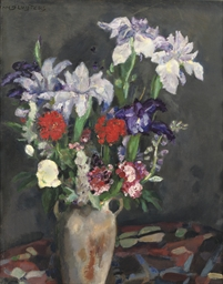 A still life with irises and s