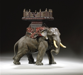ELEPHANT EN BRONZE, IVOIRE ET