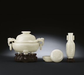 THREE WHITE JADE INCENSE VESSE