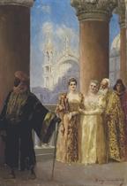 Princesses vénitiennes et leur garde maure