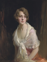 Mrs Claud Mullins, née Gwen Brandt Seated three-quarter length to the left, looking to the right, wearing a deep pink brocade dress, a white organza stole with a frilled edge around her shoulders, and gold and amethyst earrings