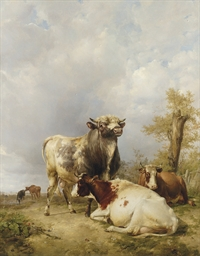 A Bull and Cows in a Landscape