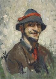Selbstbildnis mit Hut und rote