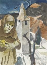 Mönch mit Kirche
