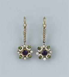 A PAIR OF GEM-SET AND ENAMEL E