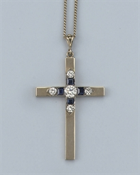 A SAPPHIRE AND DIAMOND CROSS P